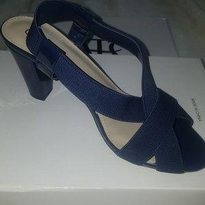 Navy stretch strappy heels